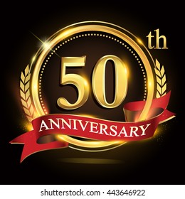 50th golden anniversary logo, with shiny ring and red ribbon, laurel wreath isolated on black background, vector design