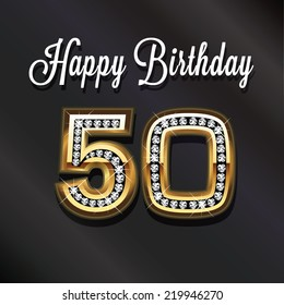 50th Happy birthday anniversary greeting card. Vector design