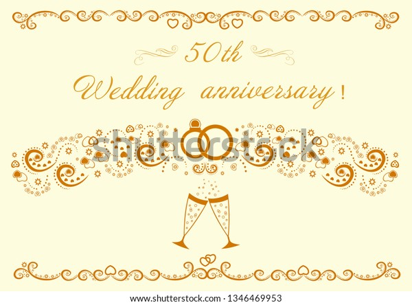 50th Wedding Anniversary Card Greetings Writing Stock Vector