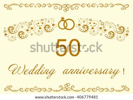 50th Wedding Anniversary Invitation Stock Vector Royalty Free