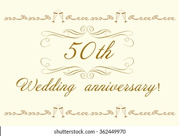 50th Wedding anniversary Invitation beautiful vector illustration