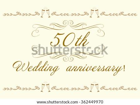 50th Wedding Anniversary Invitation Beautiful Vector Stock Vector