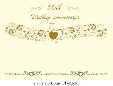50th Wedding anniversary Invitation.Beautiful editable vector illustration