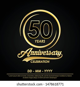 50th years anniversary celebration emblem. anniversary logo with elegance of golden ring on black background, vector illustration template design for celebration greeting card and invitation card
