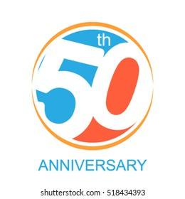 50th years anniversary and celebration logo and sing vector and illustration