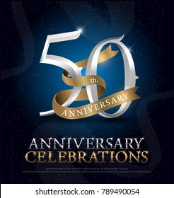 50th years anniversary celebration silver and gold logo with golden ribbon on dark blue background. vector illustrator