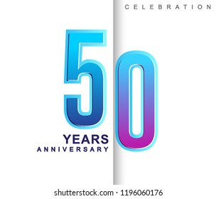 50th Years Anniversary with colorful design. Applicable for brochure, flyer, Posters, web and Banner Designs, anniversary celebration