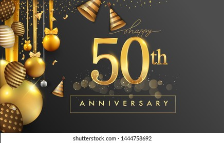 50th years anniversary design for greeting cards and invitation, with balloon, confetti and gift box, elegant design with gold and dark color, design template for birthday celebration.