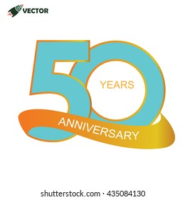 50th years anniversary label and sign vector and illustration