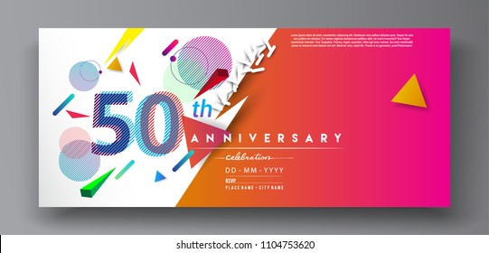 50th years anniversary logo, vector design birthday celebration with colorful geometric background and circles shape.