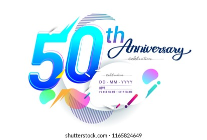 50th years anniversary logo, vector design birthday celebration with colorful geometric background, isolated on white background.