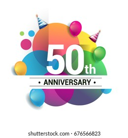 50th years anniversary logo, vector design birthday celebration with colorful geometric, Circles and balloons isolated on white background.