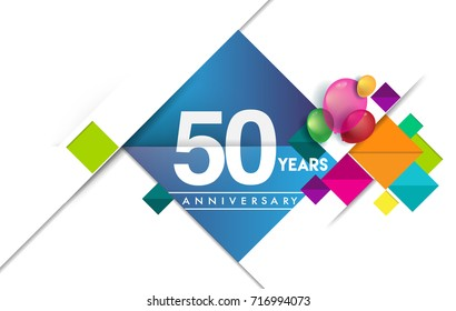 50th years anniversary logo, vector design birthday celebration with colorful geometric isolated on white background.