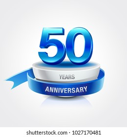 50th years blue anniversary logo celebration with ring and ribbon.