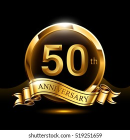 50th years golden anniversary logo celebration with ring and ribbon.
