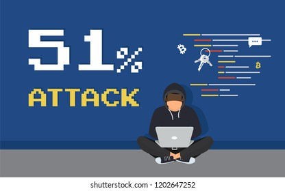 51% attack concept flat criminal illustration of hacker coding bug to hack a blockchain network. Faceless thief or hacker stealing crypto currency like bitcoin or another blockchain-based currency.