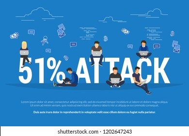 51% attack concept flat vector illustration of stealing cryptocurrency or another blockchain-based currency. Group of miners sitting on letters, doing payments and transactions in blockchain network.
