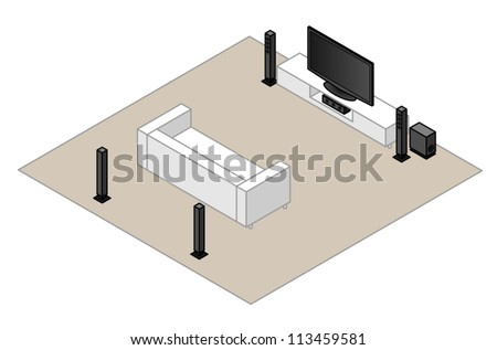 51 Home Theatre Setup Subwoofer Centre Stock Vector (Royalty Free ...