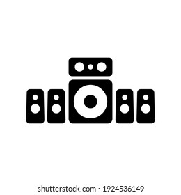 5.1 surround sound system vector glyph icon. Graph symbol for music and sound web site and apps design, logo, app, UI