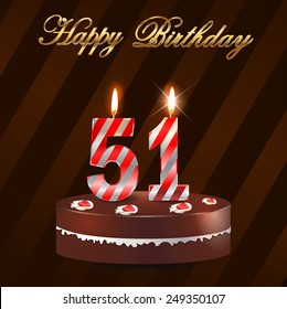 51 Year Happy Birthday Card With Cake And Candles 51st