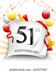 51 Years Anniversary Celebration Design on cloth, with star and balloons, Colorful Vector template elements for your birthday party.