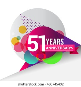51 years Anniversary logo, Colorful geometric background vector design template elements for your birthday celebration.