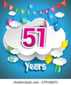 51st Anniversary Celebration Design With Clouds And Balloons Confetti Vector Template Elements For