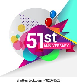 51st Anniversary logo, Colorful geometric background vector design template elements for your birthday celebration.