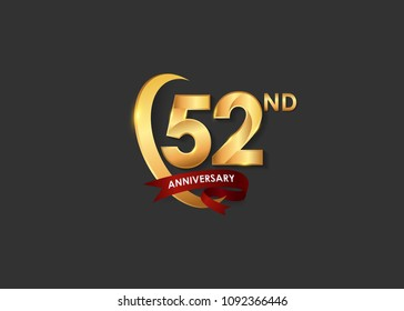 52 anniversary design logotype golden color with ring and red ribbon for celebration