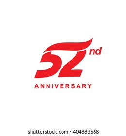 52 anniversary wave logo red