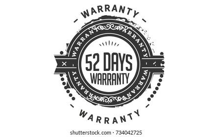 52 days warranty icon vintage rubber stamp guarantee