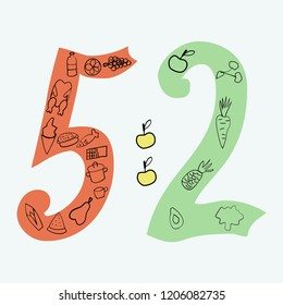 The 5-2 diet hand drawn vector illustrations in doodle style. The diet of two days fasting, five days normal eating.