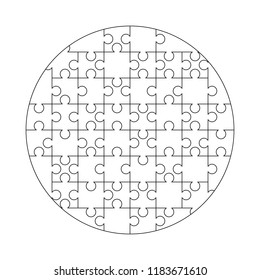 52 white puzzles pieces arranged in a round shape. Jigsaw Puzzle template ready for print. Cutting guidelines isolated on white