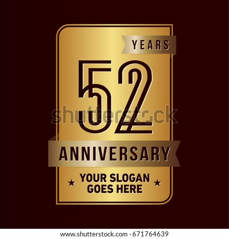 52 years anniversary design template vector stock vector royalty