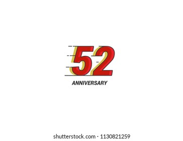 52 Years Anniversary Logotype with red flat colored font for company celebration event, birthday