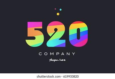 520 creative color green orange blue magenta pink number digit company logo vector icon spectrum
