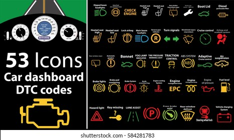 53 pack icons - Car dashboard, dtc codes, error message, check engine, fault, dashboard vector illustration, gas level, air suspension, collection, warnings, EPS 10
