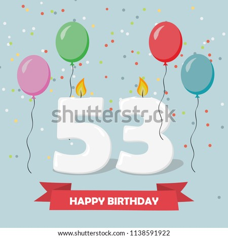 53 years selebration happy birthday greeting stock vector royalty 53 years selebration happy birthday greeting card with candles confetti and balloons m4hsunfo