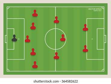 5:3:2 - Soccer game formation tactics on green field. Planning position for coach. Vector illustration.