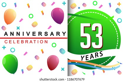 53rd birthday images stock photos vectors shutterstock 53rd years anniversary celebration with colorful balloons and confetti design for greeting card birthday celebration m4hsunfo