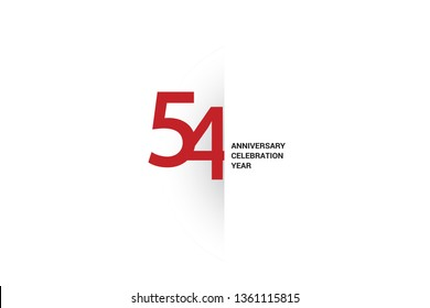54 anniversary, minimalist logo. 54th jubilee, greeting card. Birthday invitation. 54 year sign. Red space vector illustration on white background - Vector