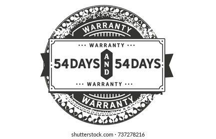 54 days warranty icon vintage rubber stamp guarantee