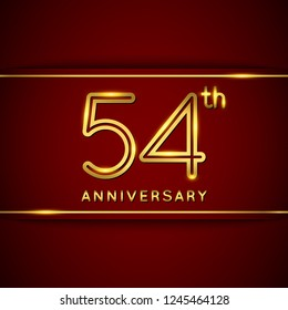 54 / Fifty Four Years Anniversary Logo with Shiny Golden Number on Red Background Isolated. 54th Celebration Event. Can Use for Poster, Invitation and Greeting Card. Easily Editable Vector.