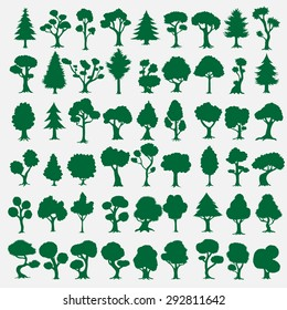 54 trees silhouettes collection