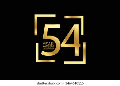 54 year anniversary celebration logotype. anniversary logo with golden and light white color isolated on black background, vector design for celebration, invitation and greeting card-Vector