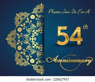 54 year anniversary celebration pattern design, 54th anniversary decorative Floral elements, ornate background, invitation card - vector eps10
