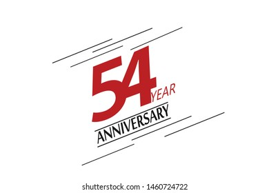 54 year anniversary, minimalist logo, greeting card. Birthday invitation. 54 year sign. Red space vector illustration on white background - Vector