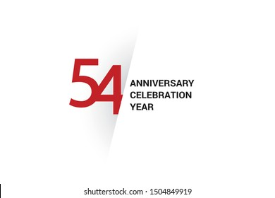 54 year anniversary, minimalist logo. 54 year jubilee, greeting card. Birthday invitation. year sign. Red space vector illustration on white background - Vector