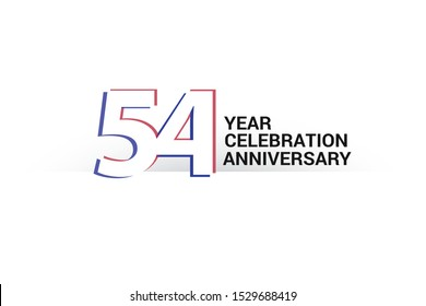 54 year anniversary, minimalist logo years, jubilee, greeting card. invitation. Sign Blue & Red Colors vector illustration on White background - Vector