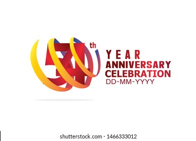 54 Year Anniversary, Red Color Text and Yellow-Orange-Blue Ribbon. Isolated graphic anniversary for banner, greeting card - vector